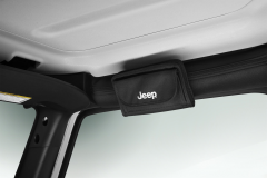 Sunglass holder with Jeep logo