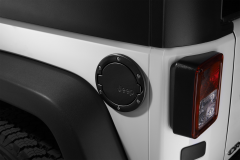 Fuel filler door satin black with Jeep logo