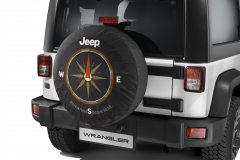 Spare tyre cover with compass design