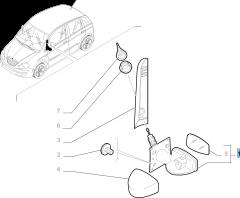 External right wing mirror, manual