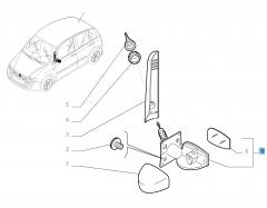 External left wing mirror, manual with temperature sensor