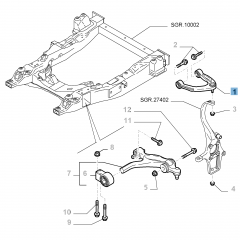 Left control arm for front upper suspension for Alfa Romeo