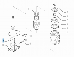 Front left shock absorber for Fiat and Fiat Professional