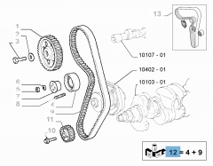 Distribution kit (belt, fixed and adjustable tensioner) - 3 pieces