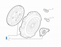 Clutch kit (clutch disc, pressure plate and release bearing) for Fiat Professional Fiorino