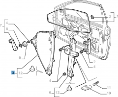 Front right window regulator for Fiat and Fiat Professional