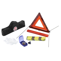 Roadside safety kit with triangle and reflective vest for Fiat 500