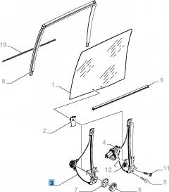 Left window regulator, manual