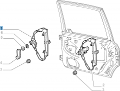 Rear left window regulator, manual for Fiat and Fiat Professional