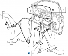 Left window regulator, electric for Fiat and Fiat Professional