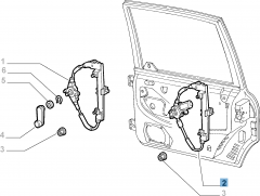 Rear right window regulator, electric for Fiat and Fiat Professional